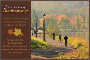 Christian Science Thanksgiving Gratitude Service 2012 - Olympia Washington
