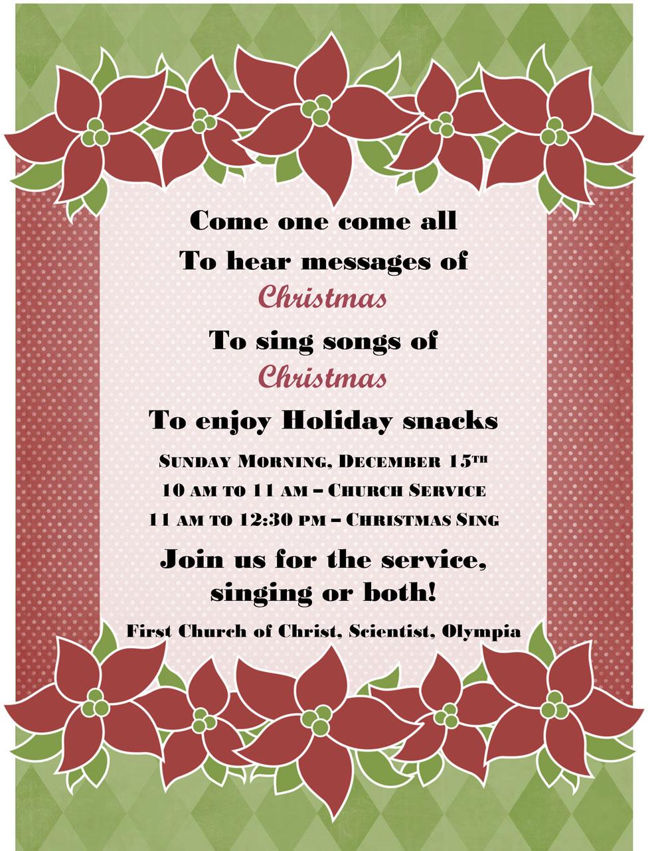 Christmas Carol Hymn Sing A Long Dec 15 First Church Of Christ Scientist Olympia Washington